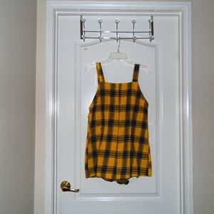 USED Shein:Yellow & Blue Checked Overalls